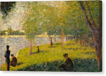 Study For A Sunday On La Grande Jatte Canvas Print by Georges Seurat