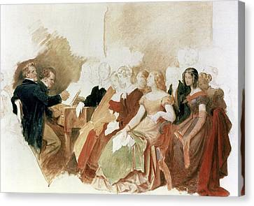 Study For An Evening At Baron Von Spauns Schubert At The Piano Among His Friends Canvas Print by Moritz Ludwig von Schwind