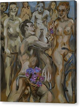 Study For Flowers On The Naked Bike Ride Canvas Print by Peregrine Roskilly