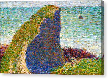 Seurat Canvas Print - Study For Le Bec Du Hoc Grandcamp by Georges Seurat