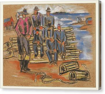 Study For Lobster Fishermen Canvas Print by Marsden Hartley