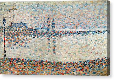 Study For The Channel At Gravelines Evening Canvas Print by Georges Pierre Seurat