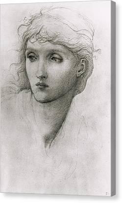 Study Of A Girls Head Canvas Print
