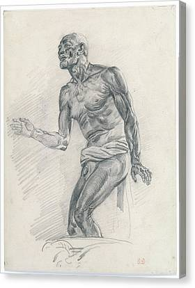 Study Of A Male Nude Study Canvas Print by Eug�ne Delacroix