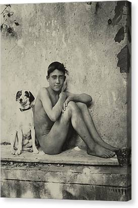 Study Of A Nude Boy With Dog Canvas Print