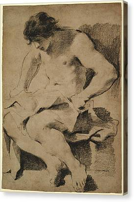 Study Of A Seated Young Man Guercino Giovanni Francesco Canvas Print