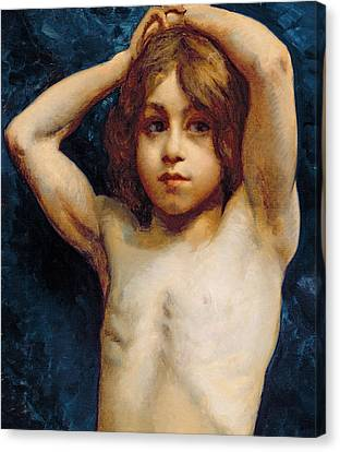 Study Of A Young Boy Canvas Print by William John Wainwright