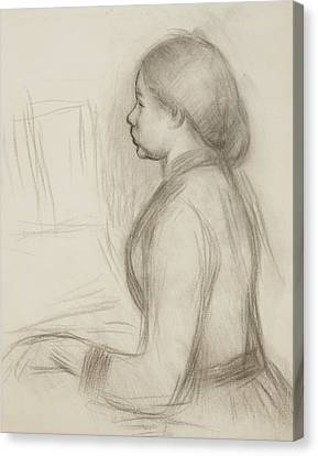 Study Of A Young Girl At The Piano Canvas Print by Pierre Auguste Renoir