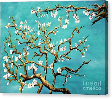 Canvas Print featuring the painting Study Of Almond Branches By Van Gogh by Donna Dixon