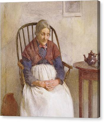 Study Of An Elderly Lady Canvas Print by Frederick James McNamara Evans