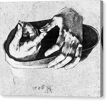 Study Of Christ's Hands Canvas Print by Albrecht Durer