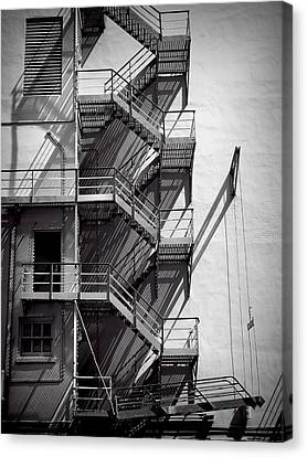 Fire Escape Canvas Print - Study Of Lines And Shadows by Rudy Umans