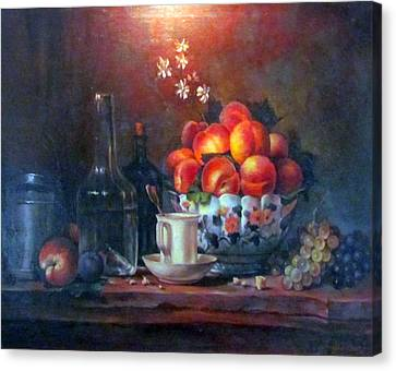 Canvas Print featuring the painting Study Of Peaches by Donna Tucker