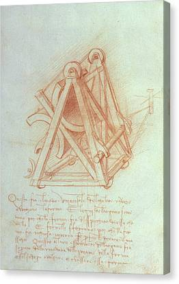 Study Of The Wooden Framework With Casting Mould For The Sforza Horse Canvas Print