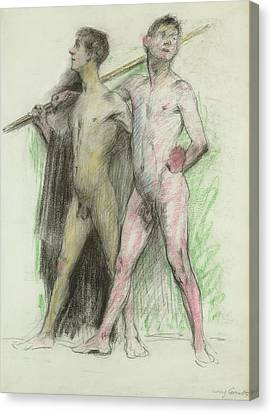Study Of Two Male Figures  Canvas Print