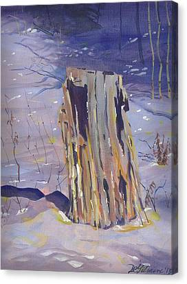 Stump In Winter Canvas Print by David Gilmore