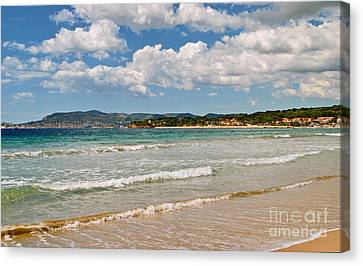 Turquois Water Canvas Print - Stunning Clouds Over Cote Dazur by Maja Sokolowska