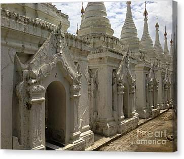 Canvas Print featuring the photograph Stupas With Buddhist Inscription Slabs Sandamuni Pagoda Mandalay Burma by Ralph A  Ledergerber-Photography