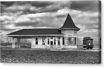 Canvas Print featuring the photograph Sturtevant Old Hiawatha Depot by Ricky L Jones