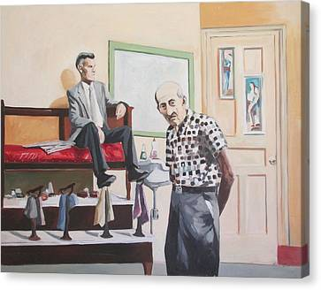 Canvas Print featuring the painting Stuyvesant Barber Shop by Linda Novick