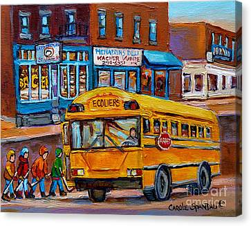 St.viateur Bagel And School Bus Montreal Urban City Scene Canvas Print by Carole Spandau