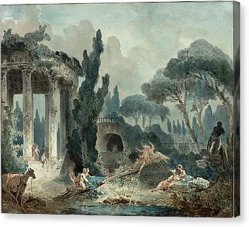 Style Of Hubert Robert, The Seesaw Canvas Print by Litz Collection