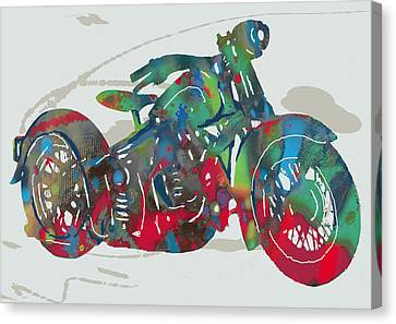 Occur Canvas Print - Stylised Motorcycle Art Sketch Poster by Kim Wang
