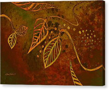 Stylized Leaves Abstract Art  Canvas Print by Ann Powell