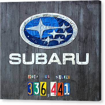 Subaru Logo Art Celebrating 2012 Usa Sales Totals Canvas Print by Design Turnpike
