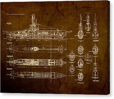 Submarine Blueprint Vintage On Distressed Worn Parchment Canvas Print by Design Turnpike