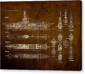 Submarine Blueprint Vintage On Distressed Worn Parchment Canvas Print