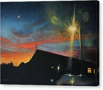 Suburban Sunset Oil On Canvas Canvas Print
