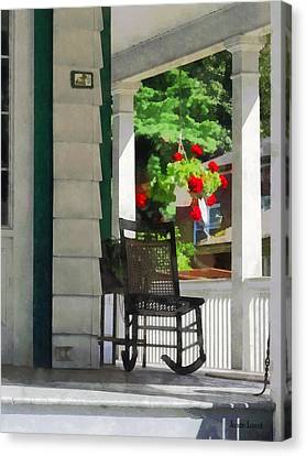 Geranium Canvas Print - Suburbs - Porch With Rocking Chair And Geraniums by Susan Savad