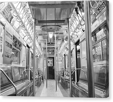Canvas Print featuring the photograph New York City - Subway Car by Dave Beckerman