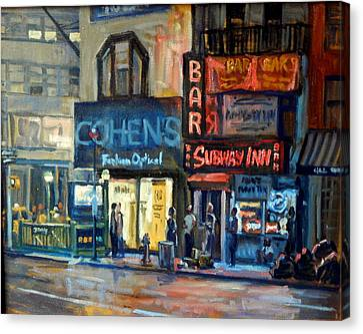 Subway Inn New York City Nyc Canvas Print by Thor Wickstrom