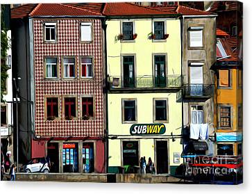 Red Roof Canvas Print - Subway - Porto by Mary Machare