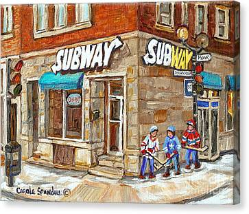 Subway Restaurant Monk Avenue Verdun Montreal Art Winter Hockey Scenes Paintings Carole Spandau Canvas Print by Carole Spandau