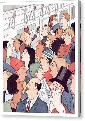 Times Square Canvas Print - Subway Riders All Resemble Eustace Tilley by R Sikoryak