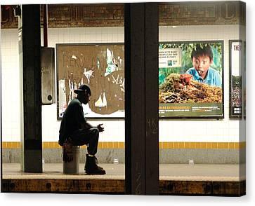 Subway Sitter Canvas Print
