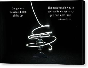 Success Inspired By Thomas Edison Canvas Print
