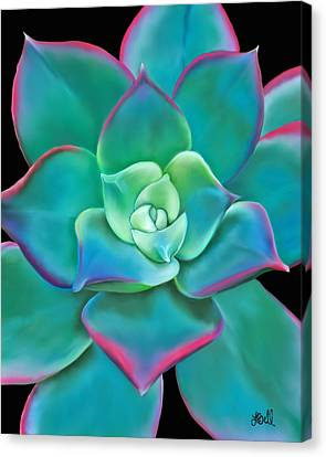 Canvas Print featuring the painting Succulent Aeonium Kiwi by Laura Bell