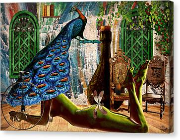 Canvas Print featuring the painting Suck My Peacock by Ally  White