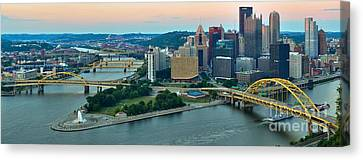 Pink Over The Pittsburgh Skyline Canvas Print by Adam Jewell