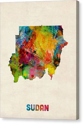 Sudan Watercolor Map Canvas Print by Michael Tompsett