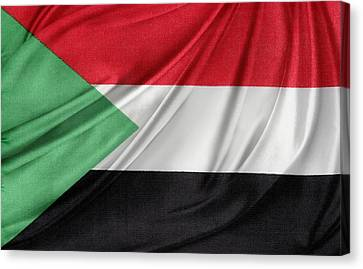 Sudan Red Canvas Print - Sudanese Flag by Les Cunliffe