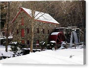 Sudbury Grist Mill In Winter Canvas Print by Mark Valentine