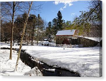 Sudbury - Grist Mill Winter Creek Canvas Print by Mark Valentine