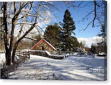 Sudbury - Grist Mill Winter Canvas Print by Mark Valentine