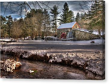 Sudbury Winter Grist Mill And River Canvas Print