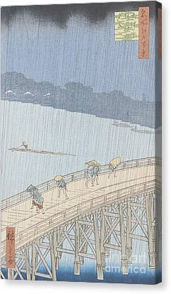 Sudden Shower On Ohashi Bridge At Ataka Canvas Print